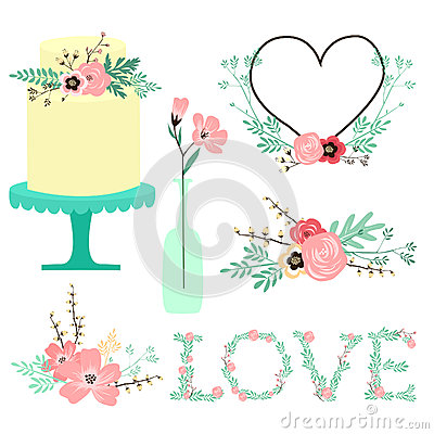 Vector clip art in pastel hues featuring hand drawn flowers, leaves ...