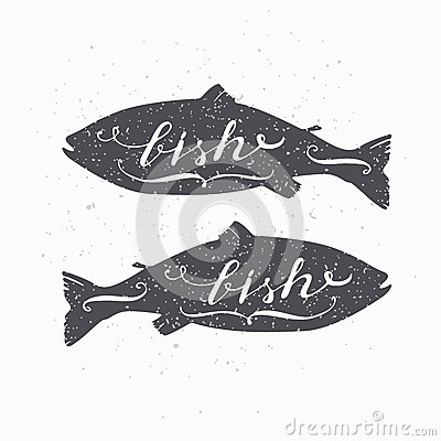 Free Hand Drawn Salmon Fish Hipster Silhouette. Handwritten Text. Seafood Shop Template Royalty Free Stock Images - 66168929