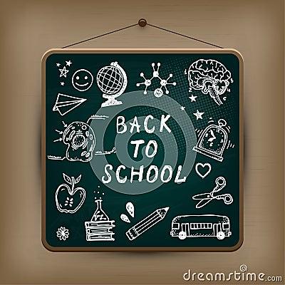 Hand-drawn school set.