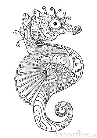 Hand Drawn Sea Horse Zentangle Style For Coloring Paget