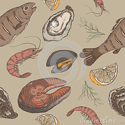 Hand drawn seafood vector color seamless pattern Vector Illustration