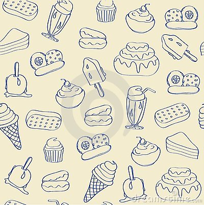 Hand Drawn Seamless Dessert Icons