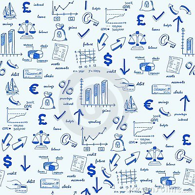 Free Hand Drawn Seamless Finance Icons Royalty Free Stock Images - 23253319