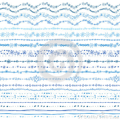 Free Hand Drawn Seamless Line Border Set.Winter Doodle Royalty Free Stock Photography - 49880037