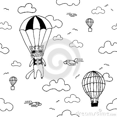 Free Hand Drawn Seamless Vector Pattern With Skydiver Cat, Air Baloon, Planes And Clouds. Design Concept For Kids Textile Print, Wallpa Royalty Free Stock Image - 108859766