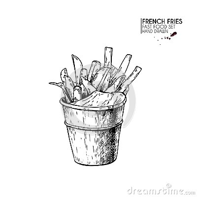 Hand drawn set of fast food. Bucket of french fries potato. Vintage engraved vector illustration. Isolated on white. For Vector Illustration