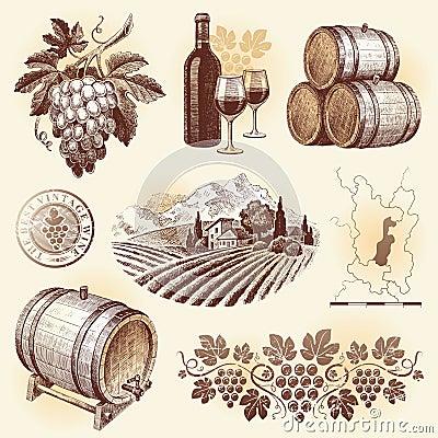 Hand drawn set - wine & winemaking