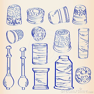 Hand Drawn Sewing Icon Set