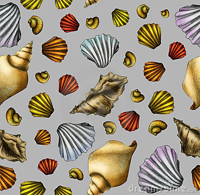 Hand drawn shell seamless pattern