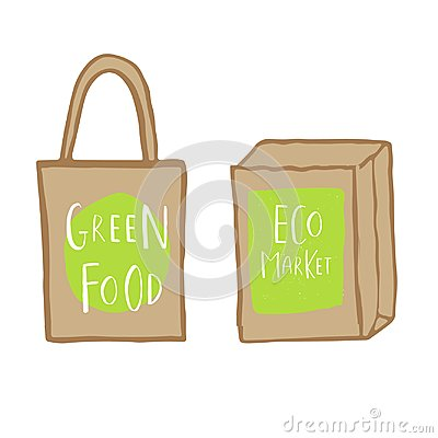Free Hand Drawn Shopping Bag With Lettering Green Food And Eco Market Stock Images - 99744774