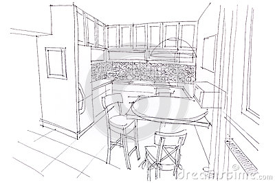 hand drawn sketch of dining room interior with furniture design