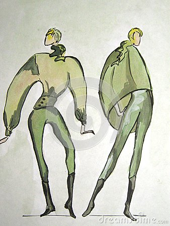 Hand-drawn sketch of a fashion