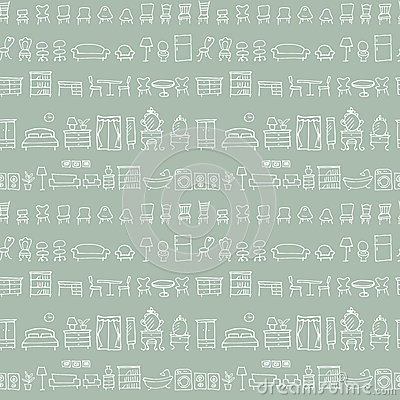 Free Hand Drawn Sketch Furniture Pattern Stock Photography - 93775142