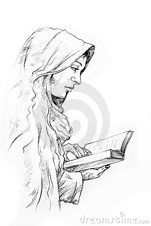Hand-drawn sketch of a girl reading