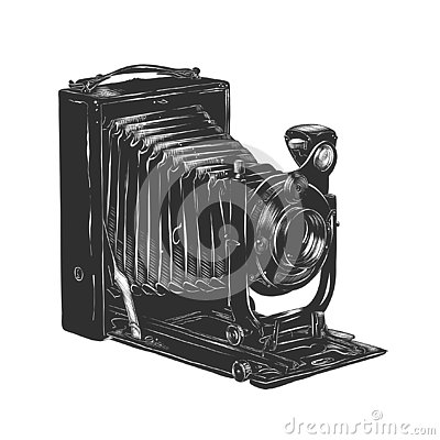 Free Hand Drawn Sketch Of Vintage Camera In Monochrome Isolated On White Background. Detailed Woodcut Style Drawing. Royalty Free Stock Photos - 129944118