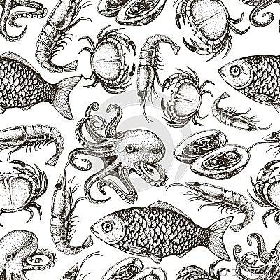 Free Hand Drawn Sketch Seafood Seamless Pattern. Stock Image - 60590261