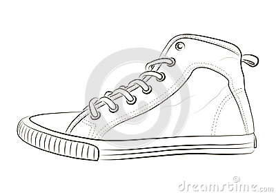 Hand drawn sketch of sport shoes, sneakers for summer. Vector stock illustration. Sport wear for men and women. Vector Illustration