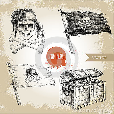 Free Hand Drawn Sketch Style Pirates Set. Treasure Chest, Jolly Roger, Pirates Flag. Royalty Free Stock Images - 79117199