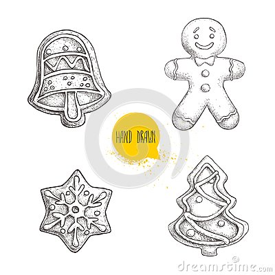 Free Hand Drawn Sketch Traditional Christmas Cookies Set. Hand Bell. Gingerbread Men, Snowflake And Christmas Tree. Royalty Free Stock Images - 100676249