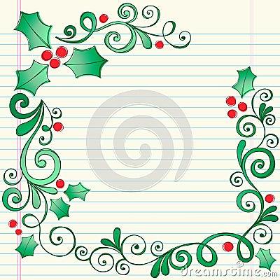 Hand-Drawn Sketchy Doodle Christmas Holly Border