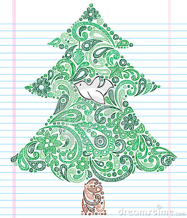 Hand-Drawn Sketchy Doodle Christmas Tree Stock Images - Image: 17255564