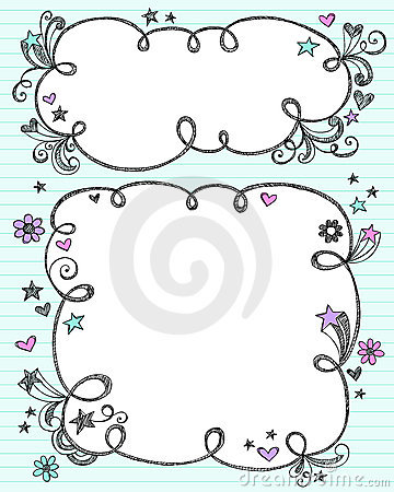 hand drawn sketchy doodle cloud frame borders with 3d shooting stars flowers and swirls vector illustration design elements on blue lined paper