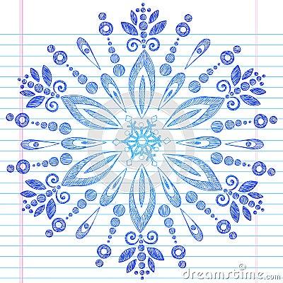 Hand-Drawn Sketchy Doodle Winter Snowflake