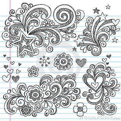 Hand-Drawn Sketchy Flower and Stars Doodles