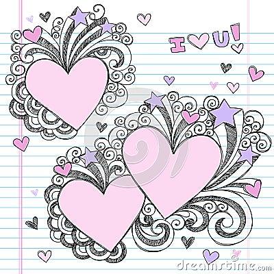 Hand-Drawn Sketchy i Love You Doodles