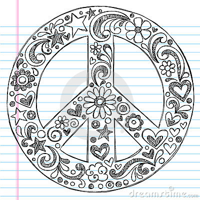 Hand-Drawn Sketchy Peace Sign Doodles