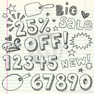 Hand-Drawn Sketchy Sale Coupon Doodles