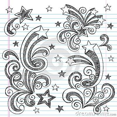 Hand-Drawn Sketchy Shooting Stars Doodles