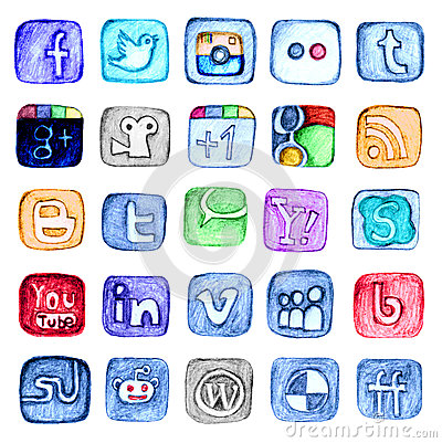 Free Hand Drawn Social Media Icon Set Stock Photos - 39735773