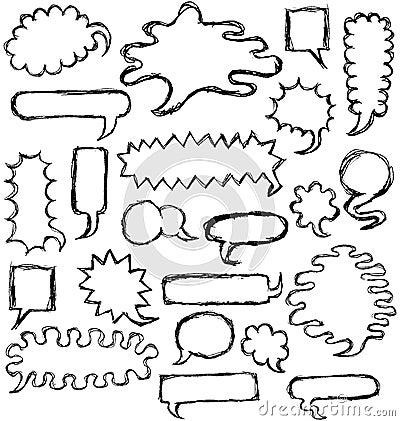 Hand Drawn Speech Bubbles outline
