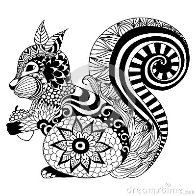 Hand Drawn Squirrel Zentangle Style