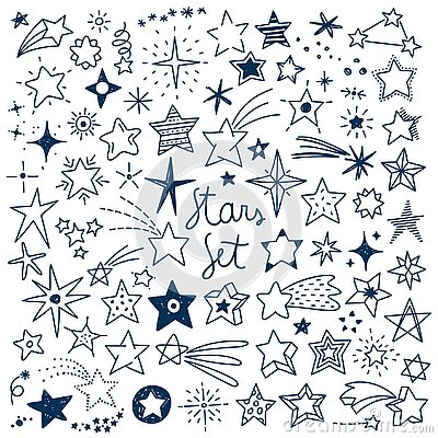 Hand drawn Stars Vector Set Vector Illustration