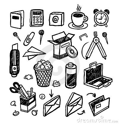 Free Hand Drawn Stationery Icons Royalty Free Stock Photos - 12160638