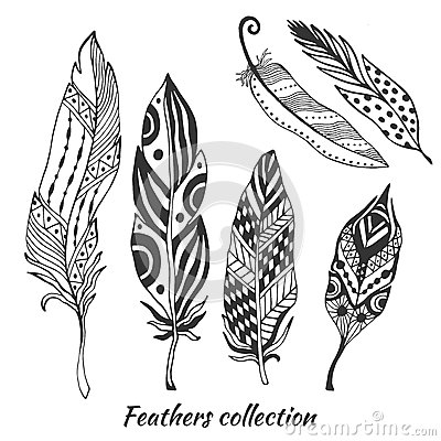 Free Hand Drawn Stylized Feathers Vector Collection. Set Of Doodle Tribal Feathers. Cute Zentangle Feather For Your Design. Royalty Free Stock Photo - 53958625