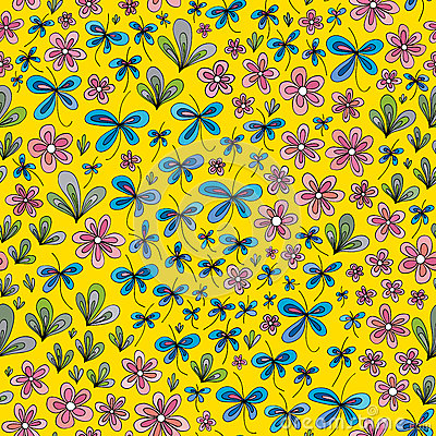 Hand drawn summer floral pattern. Vector abstract nature seamless background. Vector Illustration