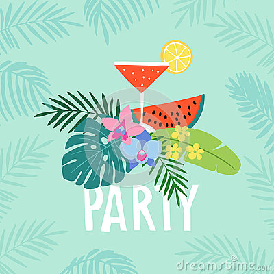Free Hand Drawn Summer Party Greeting Card, Invitation With Cocktail Drink. Watermelon Fruit With Tropical Palm Leaves And Stock Images - 95797474