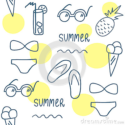 Free Hand Drawn Summer Seamless Pattern. Line Set Of Elements. Royalty Free Stock Images - 71455619