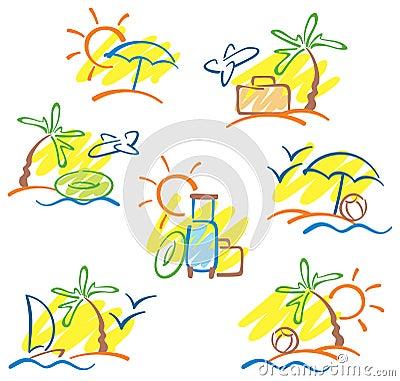 Hand-drawn sun, sea, palms and seagulls