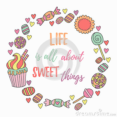 Free Hand Drawn Sweets Circle Frame Royalty Free Stock Images - 77879309