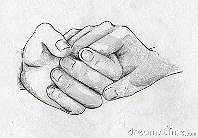 Hand Drawn Tender Hands Sketch Stock Illustration Image 40260614