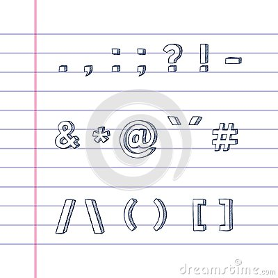 Hand drawn text symbols on lined paper