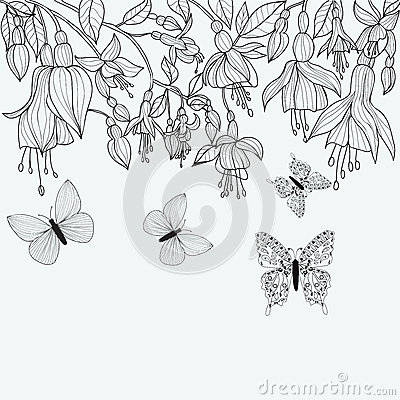 Free Hand Drawn Texture With Fuchsia Flowers And Butterflies. Stock Images - 73730444