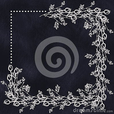 Free Hand Drawn Textured Floral Background In With Flowers And Leaves On The Dark Blue Chalkboard. Decorative Frame. Royalty Free Stock Images - 72717469