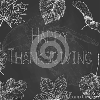 Hand drawn thanksgiving label with leaves and text on chalkboard background. Happy Thanksgiving Stock Photo