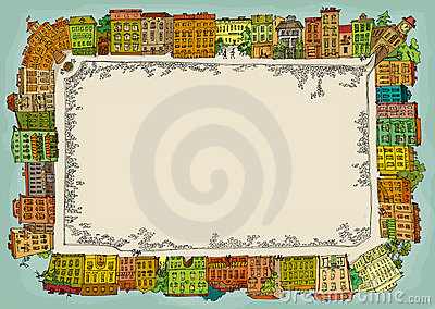 Hand drawn town square