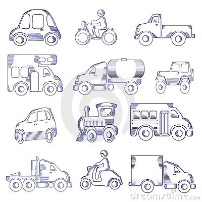 Hand Drawn Transportation Icon Set